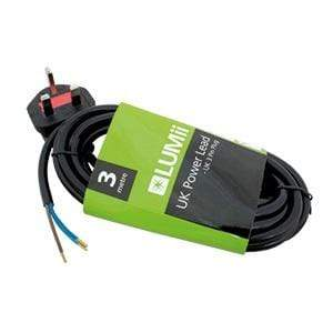 LUMii UK Power Lead - UK Plug to Crimped Bare Wires (3 x 0.75mm Strand) 3 - London Grow