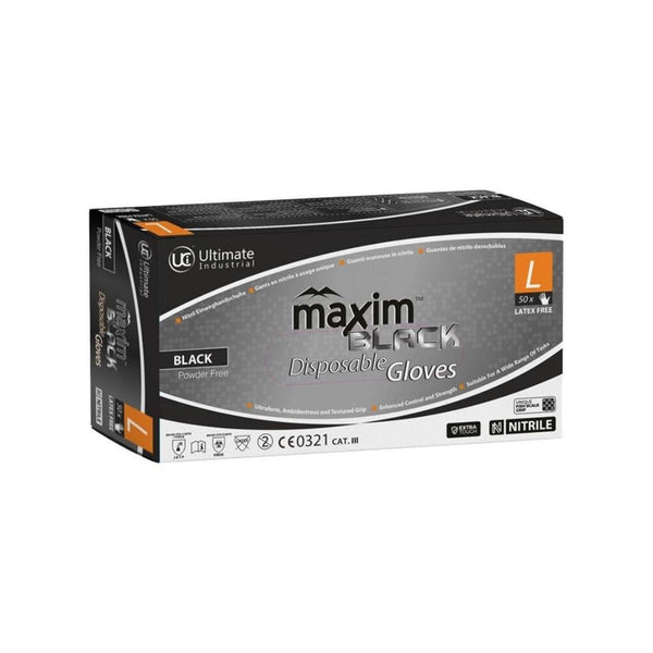 Maxim Black Nitrile Gloves - Box of 50 - London Grow