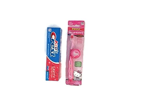 Hello Kitty Toothbrush with Cap and Kid's Crest Toothpaste 4.6 Oz Bundle