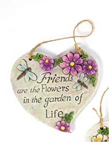 Bonita Home Inspirational Spring Outdoor Garden Decor - Heart-Shaped Hanging Floral Plaques (Set of 3)