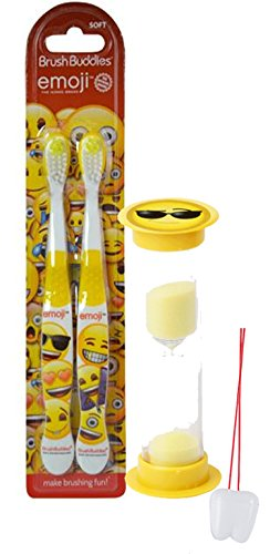 "Emoji Inspired 3pc Bright Smile Oral Hygiene Set! 2pk Soft Manual Toothbrush & Brushing Timer! Plus ""Remember To Brush"" Visual Aid!"