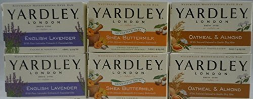 Yardley London Soap Bath Bar Bundle - 6 Bars: Cocoa Butter, Oatmeal & Almond, English Lavender 4.25 Oz Bars (Pack of 6, Two of Each)