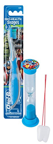 Marvel Avengers 2pc Bright Smile Hygiene Set! Super Hero Inspired Toothbrush & Brushing Timer! Plus Bonus Tooth Necklace