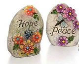 Inspirational Outdoor Garden Decor Message Stone: HOPE and PEACE