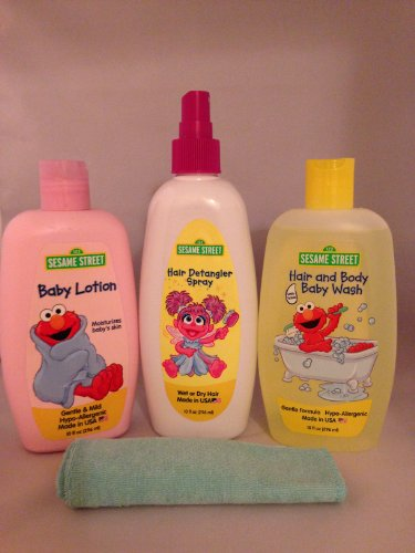 Sesame Street Baby Care Bundle - Hair and Body Wash Hair Detangler Spray Baby Lotion and Baby Wash Cloth