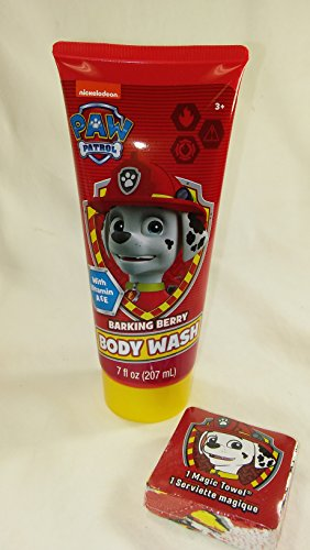 Nickelodeon Paw Patrol 4pc Bath Set. Barking Berry Bubble Bath, Shampoo & Body Wash. 1 Magic Towel