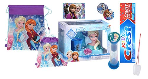 Disney Frozen Elsa Inspired 6pcs Sparkling Smile set ! Holder, Toothbrush, Toothpaste, Timer, Cup & Bag, Stickers & Tooth Saver Necklace!!!