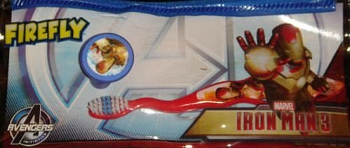 Iron Man Travel Toothbrush Set with Cap Incl: Zippered Pouch