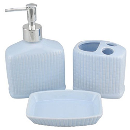 Ribbed Ceramic Bath Accessories Set Lotion Soap Dispenser,toothbrush Holder & Soap Dish (Light Blue)