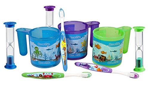 Ocean Pals Brushing Cup Set (3 Sets ~ 1 Of Each Color)