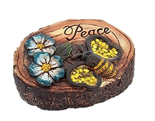 "Garden Collection Woodland Cement Decorative Stones One stone ""PEACE"""