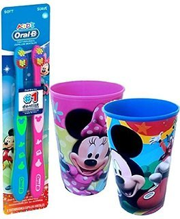 Disney Mickey Mouse & Minnine Mouse Inspired 4pc Bright Smile Hygiene Set! Includes Soft Manual Toothbrush & 2 Cups!