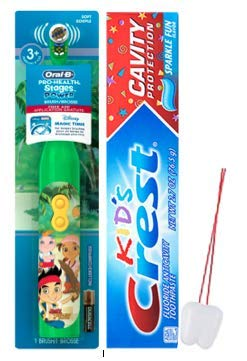 Disney Jr. Jake and The Neverland Pirates – Brush Bundle  2 Piece Set Includes: Spin Power Toothbrush and Crest Kids Sparkly Fresh Toothpaste