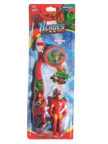Iron Man Toothbrush - Travel Toothbrush with Mini Chain Figurine and Cap