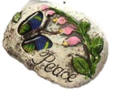 Garden Decor Stone with Butterfly & message with inspirational word: (Pack of 1, Peace)