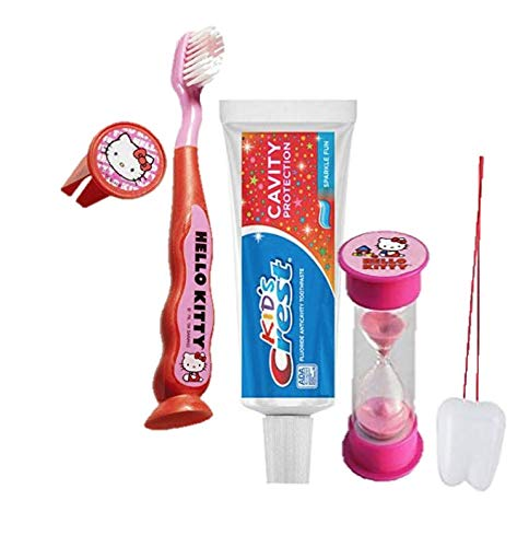"Hello Kitty Inspired 4pc Bright Smile Oral Hygiene! Toothbrush, Cap, Toothpaste & Brushing Timer! Bundle Plus Bonus""Remember to Brush"" Visual Aid!"
