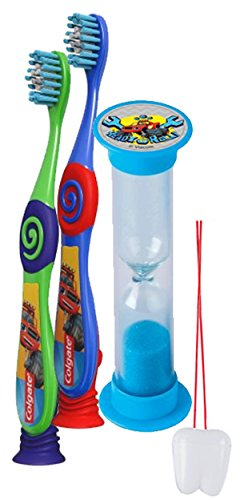 """Blaze and the Monster Machines"" 3pc Bright Smile Oral Hygiene Set! 2pk Toothbrush & Brusing Timer! Plus Bonus ""Remember To Brush"" Visual Aid"