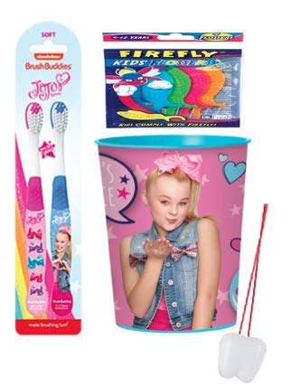 Jojo Siwa Just Dance Girl's Oral Hygiene Bundle! Include 2pk Soft Manual Toothbrush & Mouthwash Rinse Cup! Plus Bonus Tooth Necklace!