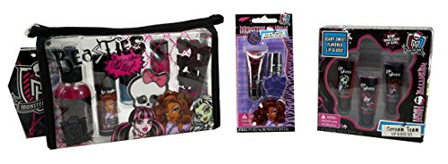 Monster High Beasties Beauty Bag Lip Gloss Nail Polish Bundle - 12 Items