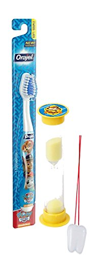 "Paw Patrol""Rubble On The Double"" 2pc Bright Smile Oral Hygiene Set! Toothbrush & Rubble Brushing Timer! Plus Bonus""Remember to Brush"" Visual Aid"