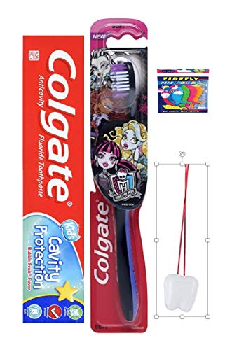 Monster High - Ready.Set.Brush! 2 Piece Bundle Includes: Monster High Toothbrush & Colgate Toothpaste Plus bonus flossers and Tooth Necklace!!!!!!