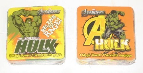 2 Different Incredible Hulk Magic Pop Up Towel Wash Cloths