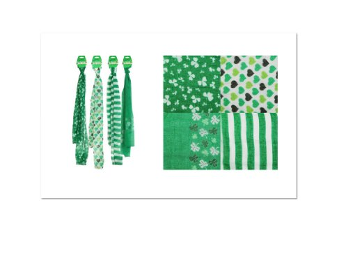 St. Patrick's Day Scarf (Green with White Shamrocks)