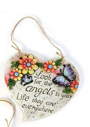 Inspirational Spring Outdoor Garden Decor - Heart-Shaped Hanging Floral Plaques (Angels)