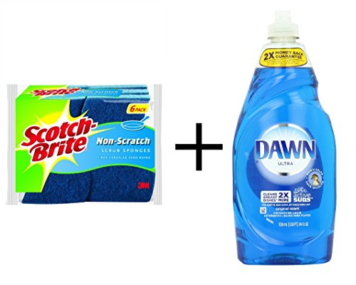 Bundle: Scotch-Brite Non-Scratch Scrub Sponge, 6-Count PLUS Dawn Ultra Dishwashing Liquid, Original Scent, Blue