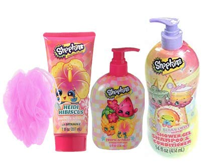 SHOPKINS BATH CARE BUNDLE of 4 inclued Hand Soap, body Lotion, and 3in1 shower gell, shampoo conditioner with bath pouf