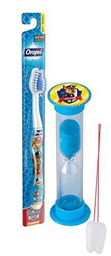 "Paw Patrol ""Chase Is On The Case"" 2pc Oral Hygiene Set! Includes Soft Manual Toothbrush & Chase Brushing Timer! Plus Bonus Tooth Saver Visual Aid!"