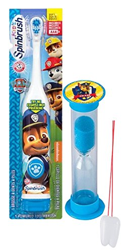 Paw Patrol Chase Inspired 2pc Oral Hygiene Set! Includes Turbo Powered Spin Toothbrush & Police Pup Brushing Timer! Plus Bonus Tooth Necklace!