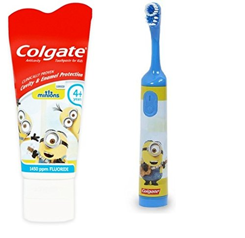 Colgate Children's Powered Toothbrush Bundle with Toothpaste (Minions ~ Blue) Bundle Compatible with Colgate