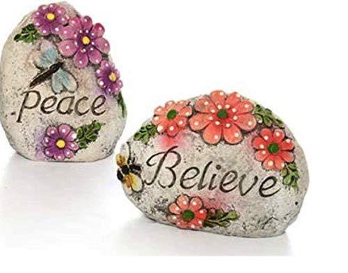 Inspirational Outdoor Garden Decor Message Stone: PEACE and BELIEVE