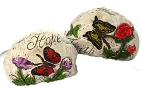 Garden Decor Stones with Butterfly & message with inspirational word: (2, Hope & Faith )