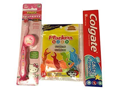 Hello Kitty Firefly Toothbrush Kit Bundle with Colgate Kids Toothpaste and Plackers Mixed Berry Flavor Kids Dental Flossers by Hello Kitty
