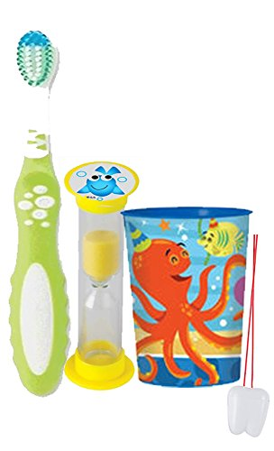 """Under The Sea Adventure"" Inspired 3pc Bright Smile Hygiene Set! Soft Manual Toothbrush, Timer & Rinse Cup! Plus Bonus Tooth Necklace"