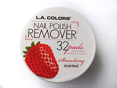 L.A. Colors Nail Polish Remover Pads, Strawberry, 32ct