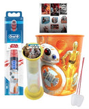 Star Wars BB8 Inspired 3pc Bright Smile Oral Hygiene Bundle! Turbo Powered Toothbrush, Brushing Timer & Mouthwash Rinse Cup! Plus Dental Gift, Stickers & Remember to Brush Visual Aid!