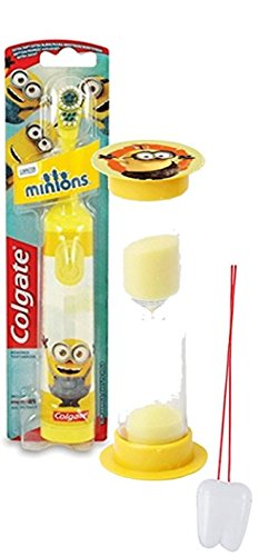 "Despicable Me Minions 2pc Bright Smile Oral Hygiene Set! Turbo Powered Spin Toothbrush & Brushing Timer! Plus""Remember to Brush"" Visual Aid!"