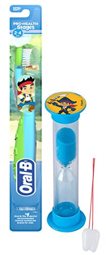 "Disney ""Jake & The Neverland Pirates"" Inspired 2pc Bright Smile Oral Hygiene Set! Toothbrush & Brushing Timer! Plus Bonus Tooth Necklace"