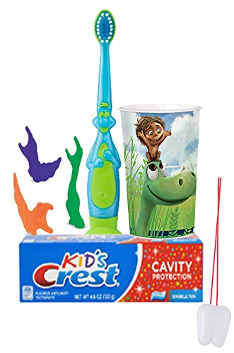 """The Good Dinosaur"" Inspired 6pc. Bright Smile Oral Hygiene Set! Dino Toothbrush, Dino Flossers, Toothpaste & rinse Cup! Plus Bonus Tooth Necklace"