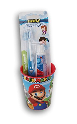 Firefly Super Mario Tooth Brushing Kit - Toothbrush, Toothpaste, and Rinsing Cup