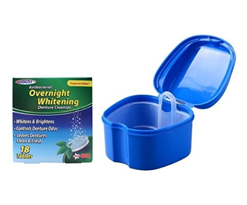Iodent Overnight Whitening Denture Cleanser Tablets and Orafix Premium Denture Bath Pack