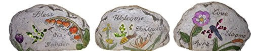 Decorative Garden stone with Stain Glass and Messages (3 pcs Set)