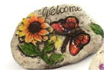 Garden Decor Stone with Butterfly & message with inspirational word: (Pack of 1, Welcome)