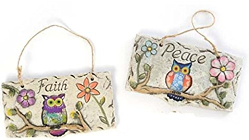 Owl Hanging Wall Plaques Signs with Garden Flowers Rustic Concrete (Peace & Faith)