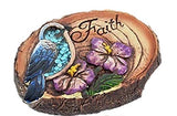 "Garden Collection Woodland Round Cement Decorative Stone one stone ""FAITH"""