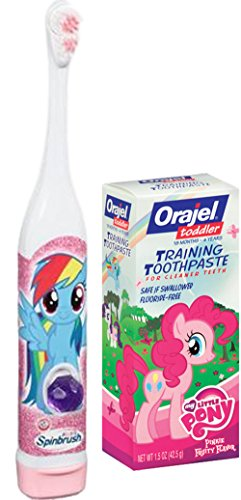 My Little Pony Oral Hygiene Set, Kids Spinbrush Toothbrush and Orajel Training Toothpaste