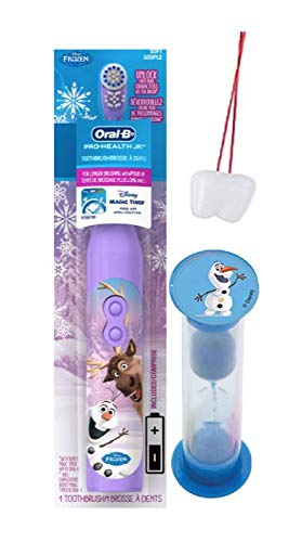"Disney Frozen""Olaf & Sven"" 2pc Bright Smile Oral Hygiene Bundle Turbo Powered SpinToothbrush & Timer Plus Bonus Visual Aid"